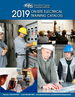 2019 ON-SITE ELECTRICAL TRAINING CATALOG
