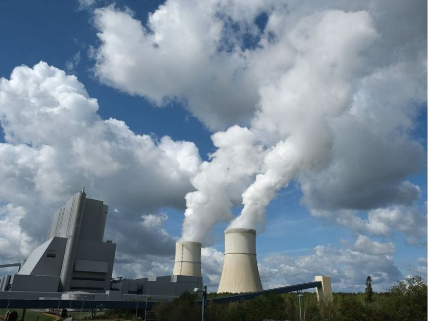 Steam rises from cooling towers at the Schwarze Pumpe coal-fired power plant on September 19, 2019 in Spremberg, Germany.