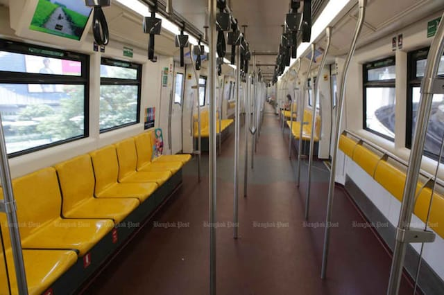 A Bangkok electric train is almost empty as many people switch to working from home because of Covid-19.