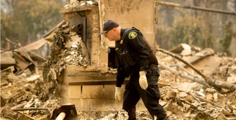 Alameda County Sheriff's deputy A. Gogna searches for victims of the Camp Fire
