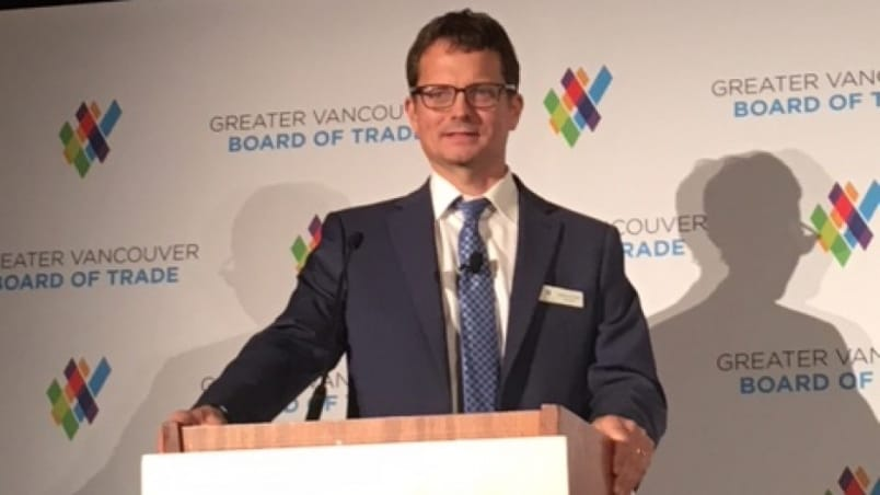 BC Hydro CEO Chris O'Riley updates Greater Vancouver Board of Trade on $10.7 billion Site C dam project.