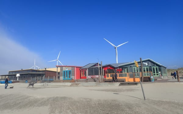 Wind turbines close to the beach at Velsen Noord.