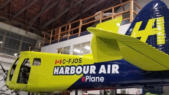 A Harbour Air e-plane that is under construction
