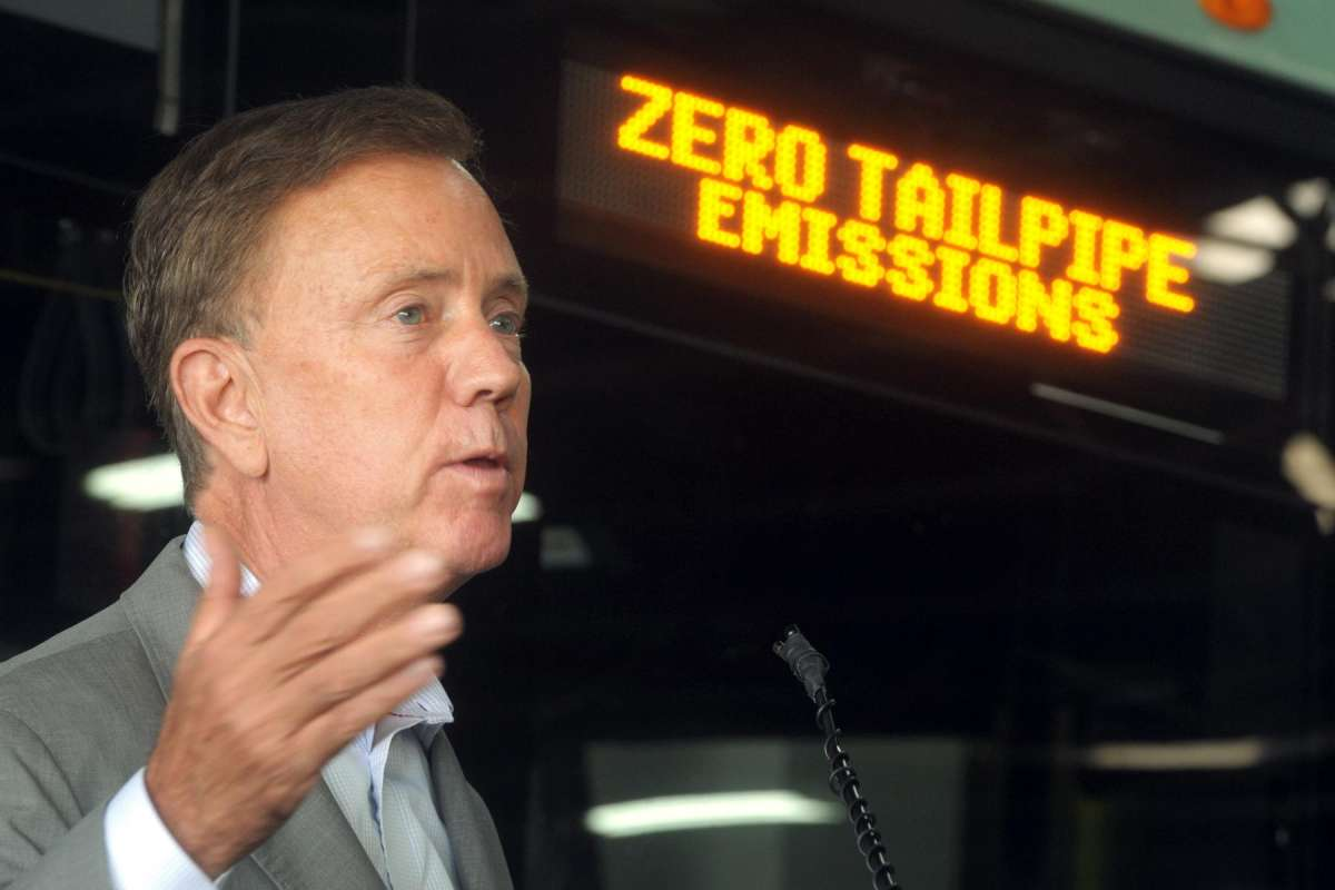 Gov. Ned Lamont in late September 2020 at a press conference to reveal battery-electric buses entering service in Bridgeport, Conn