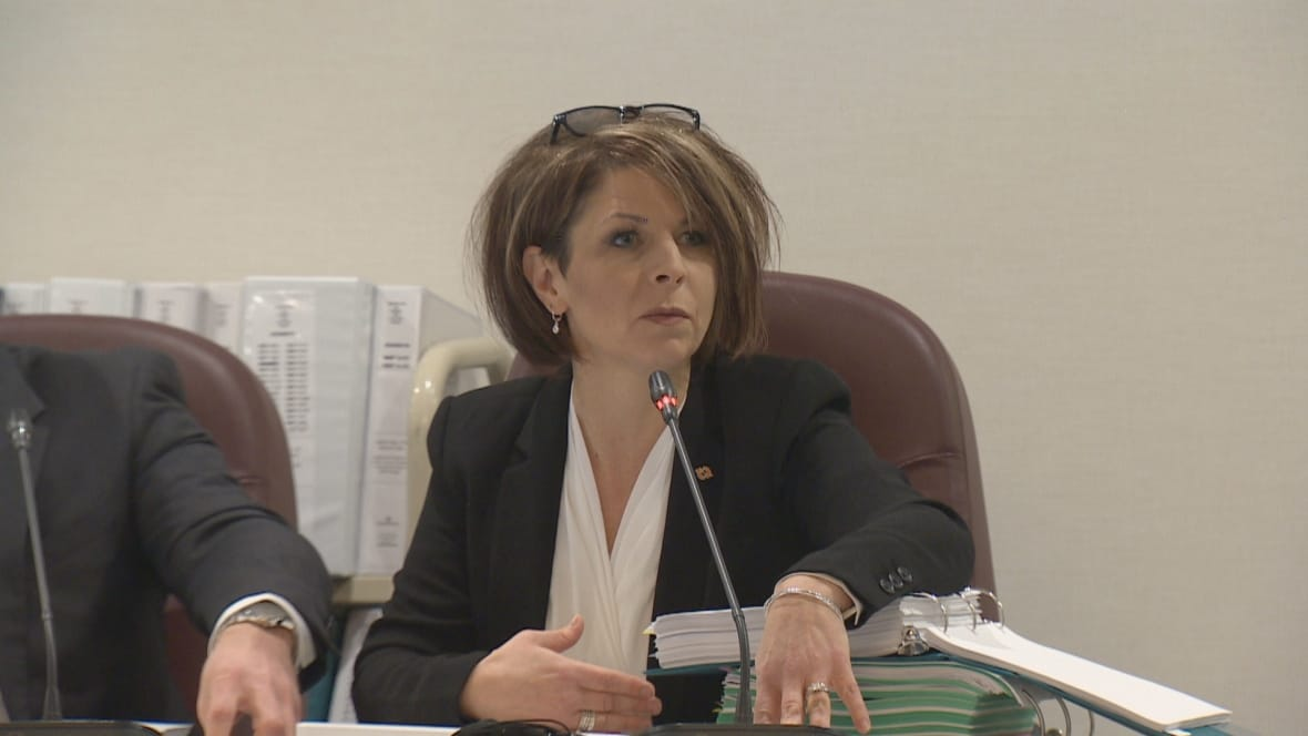 NB Power Senior VP Operations Lori Clark speaks during the EUB hearings Friday in Saint John.