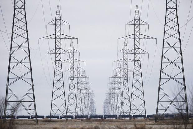 Manitoba Hydro power lines are photographed outside Winnipeg