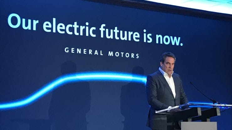 GM President Mark Reuss announces a $2.2 billion investment in the automaker's Detroit-Hamtramck Assembly plant in Michigan
