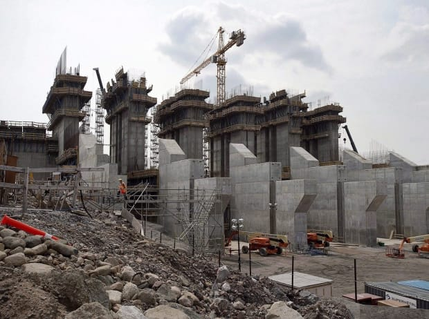The construction site of the hydroelectric facility at Muskrat Falls, Newfoundland and Labrador