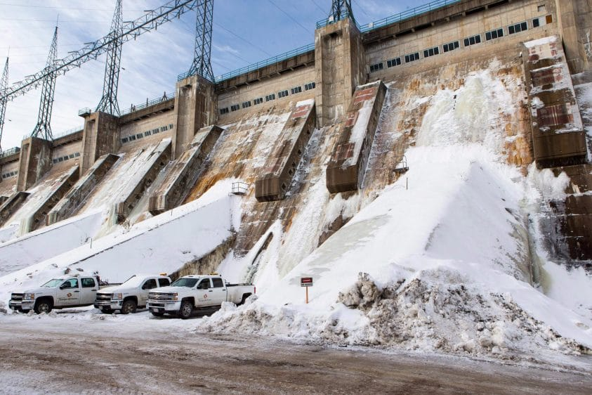 Snow and ice cover the exterior of the intake structure at the Mactaquac generating station