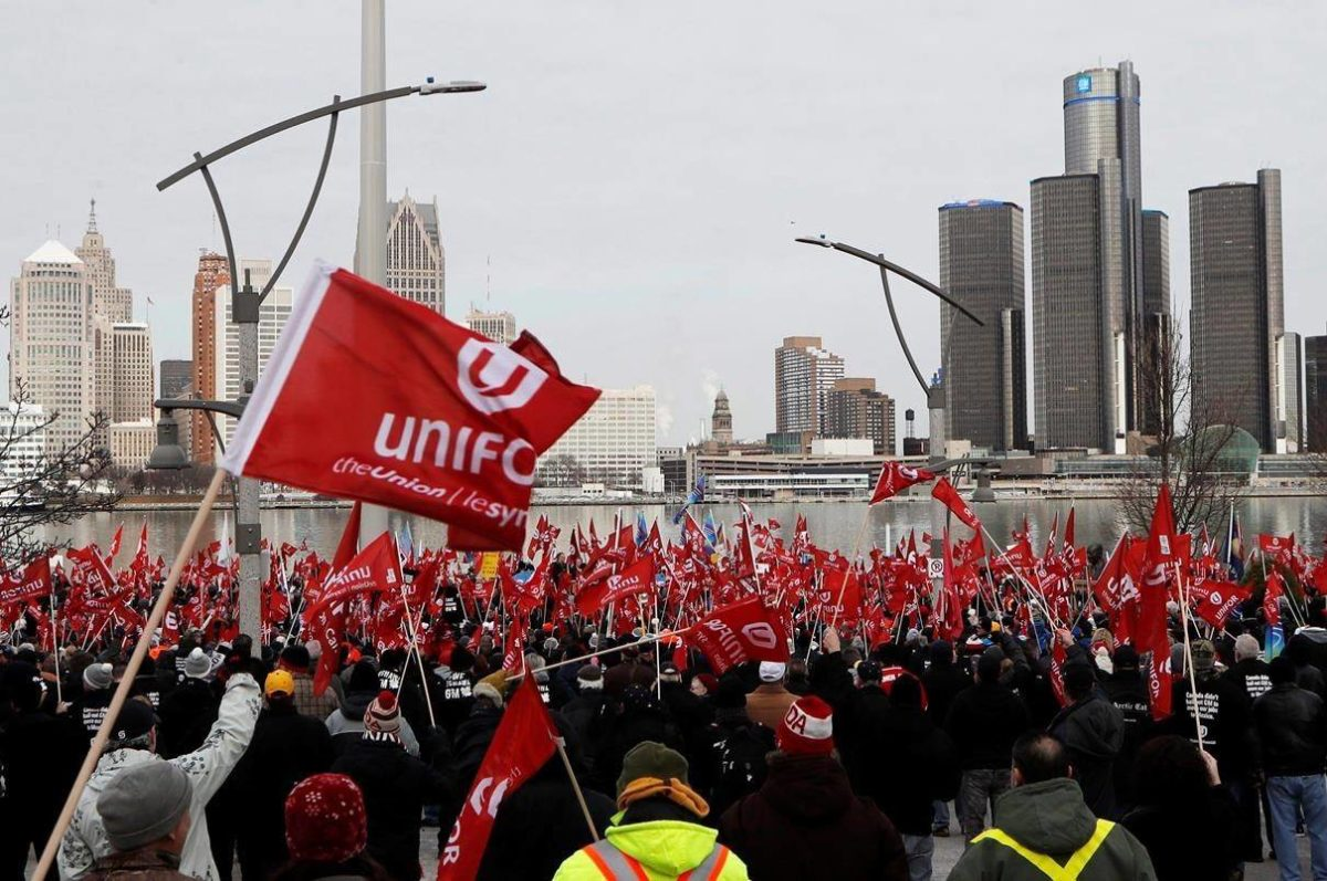 Supporters for Unifor, the national union representing auto workers, attend a rally in Windsor, Ont.